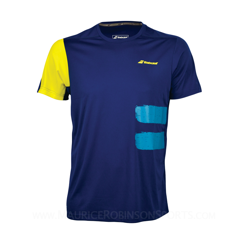 Babolat Mens Performance Crew neck tee Blue
