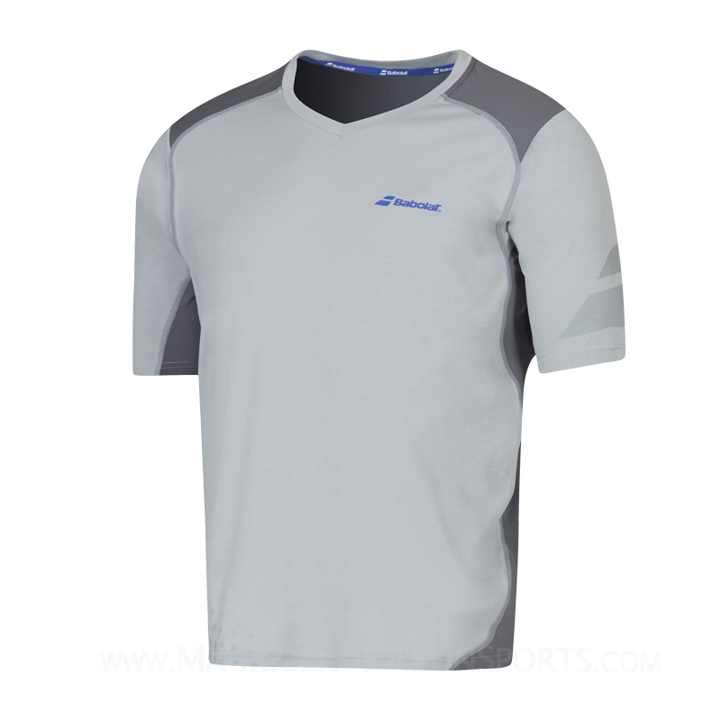 Babolat Mens Performance V-Neck T-Shirt Grey