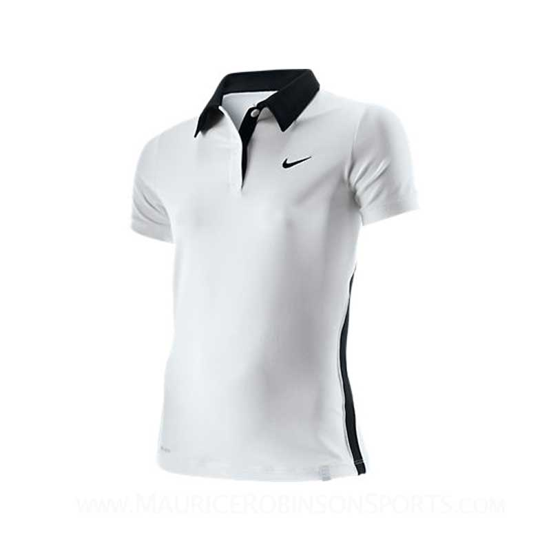 Nike Girls Border Polo White-Black